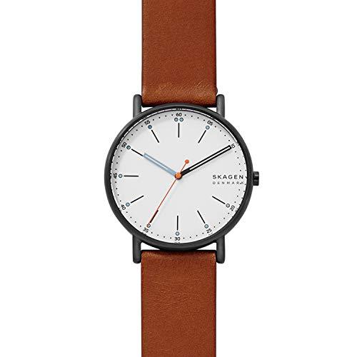Skagen Herren Analog Quarz Uhr mit Leder Armband SKW6374