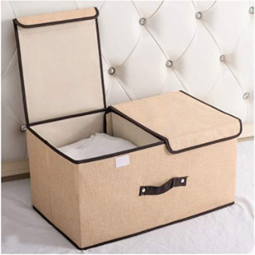 ETRZ Clothes storage box fabric folding double cover storage box beige (36 * 25 * 16cm)