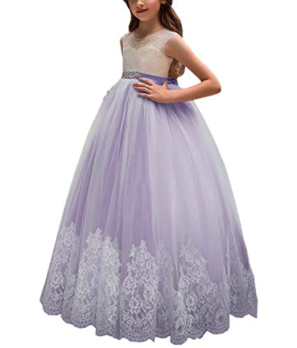 AnnaLin Princess Long Girls Pageant Dresses Kids Prom Puffy Tulle Ball Gown Purple