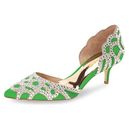 XYD Women D'Orsay Wedding Pumps Pointed Toe Low Kitten Heels Slip On Rhinestones Bridal Shoes Size 8.5 Lime Green