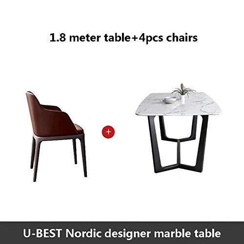 Eettafel LKU Houten basis modern design en verkoop van kunstmatige marmeren eettafel, luxe interieurarchitectuur, 1.8m tafel 4 stoelen