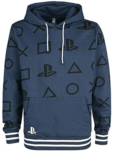 Playstation Icons Männer Kapuzenpullover blau XL 100% Baumwolle Fan-Merch, Gaming