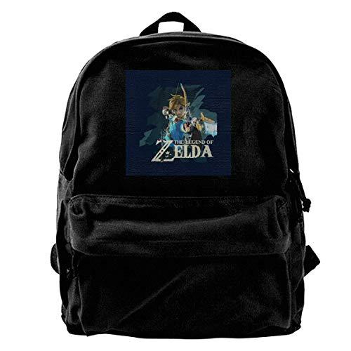 Canvas Rucksack Zelda Breath of The Wild Link Pfeil und Bogen Rucksack Gym Wandern Laptop Umhängetasche Daypack für Männer Frauen