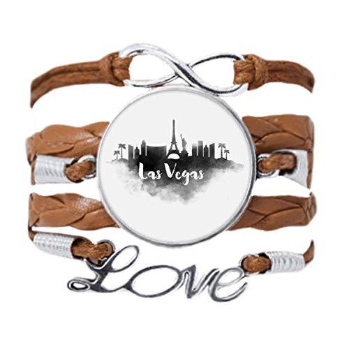 DIYthinker Las Vegas America Landmark Ink City Painting Bracelet Love Chain Rope Ornament Wristband Gift