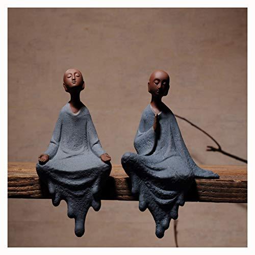 Uziqueif Mönche Figur Statue, sitzend Lucky Buddha Statue Figuren Ornamente Meditation Wohnkultur Garten drinnen oder draußen Feng Shui Meditation Yoga Figuren,1 Pair
