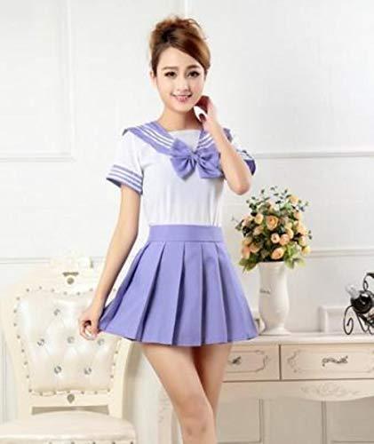 FXC Lala Cheerleader-Kleidung für Mädchen, Schuluniformen, Matrosen-Tops, Krawatte, Rock, Marineblau, Übergröße Gr. 48, violett