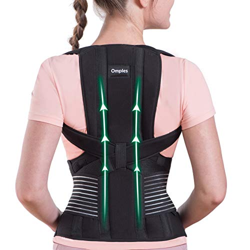 Omples Posture Corrector for Women and Men Back Brace Straightener Shoulder Upright Support Trainer for Body Correction and Neck Pain Relief, Medium (Waist 34-38 inch)