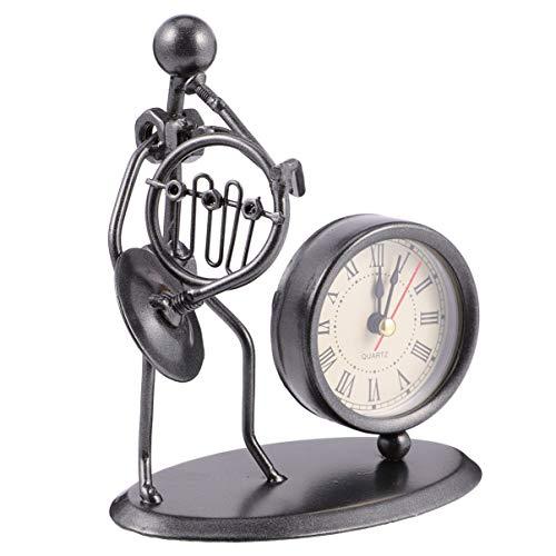 VORCOOL Reloj de escritorio vintage de cuerno francés de metal para bicicleta, figura de músico, reloj de mesa, adorno para decoración de escritorio del hogar, oficina