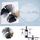 Silicone Wine Glass Holder Resin Casting Mold Rack Making Cup Coasters Storage Goblets Tray Epoxy Mould Craft Tool Flower Shape DIY Artist Decoration for Home Kitchen Bar Party (Round Rack Mold)