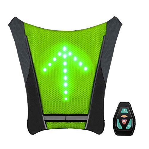 SHENKEY LED Turn Signal Vest,LED Reflective Vest with Direction Indicator - Remote Control, Turning Lights, Waterproof, USB Rechargeable,Easy Installation for Cycling Safety Warning Light