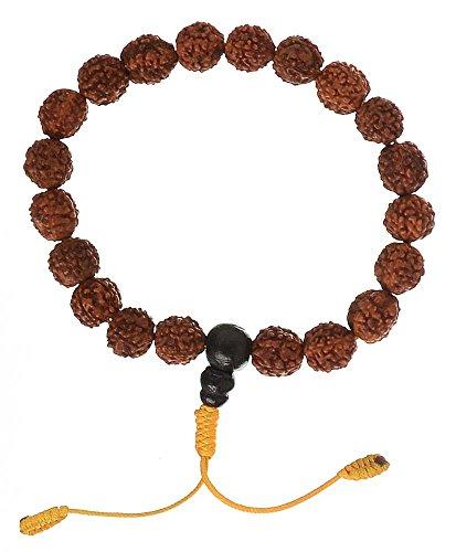 BUDDHAFIGUREN Braccialetto buddista Hand-Mala, con perle Rudraksha da 10 mm