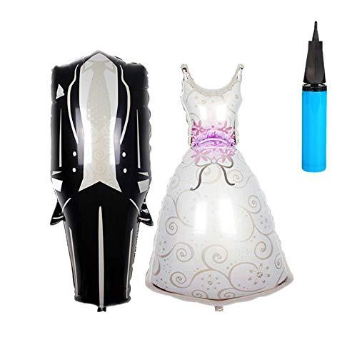 JZK 2 x Globos boda grande globo aluminio en formas de novia y novio para decoraciones de bodas, con una bomba manual