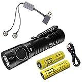 Combo: NITECORE E4K Next generation Flashlight - 4400 Lumens 2x NITECORE 21700 Rechargeable Li-ion Batteries & A1 Magnetic Charger & Eco-Sensa USB Cord