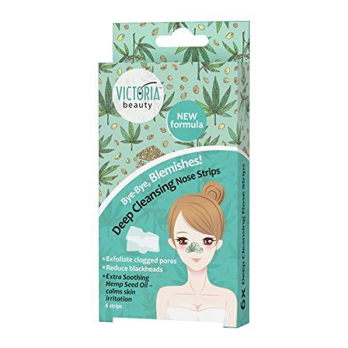 Victoria Beauty - Nasenstrips gegen Mitesser mit Hanföl, Clear Up Nose Strips, Blackhead Maske, Nasenmaske, Nasenstreifen zum Mitesser entfernen (1 x 6 Stk.)