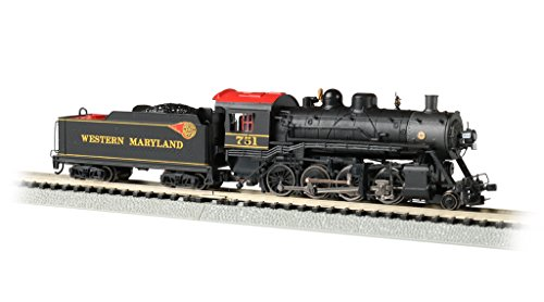 Bachmann Trains Baldwin 2-8-0 DCC Sound Value Econami Equipped Locomotive - Western Maryland #751 - N Scale, prototypical Black with red roof