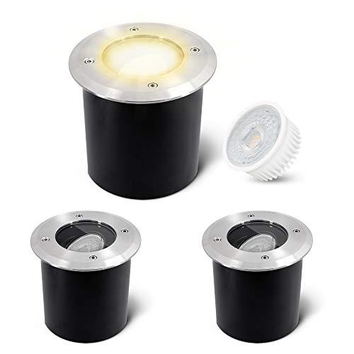 SSC-LUXon 3er Pack JADINA Bodeneinbaustrahler schwenkbar flach mit fourSTEP LED Modul 5W warmweiß 230V - Bodenlampe befahrbar rund außen IP67