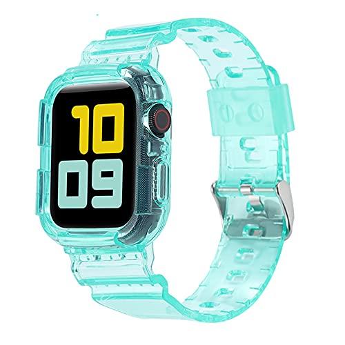 CHENPENG Compatible con Apple Watch 1/2/3/4/5/6 / SE Mujeres Transparente TPU Correa Deportiva Correas de Repuesto con Estuche Protector de Parachoques Resistente,9,38mm