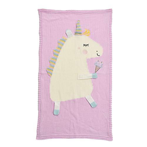 YeahiBaby Manta de Bebé Suave Manta Tejida de Unicornio para Niños Rosa