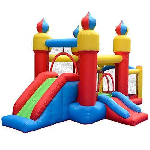 ZYCSKTL Hüpfburg ftir Kinder Hüpfburg Fir Kinder Indoor,Kinderspielplatz Trampolin Aufblasbares Schloss, Innen- Und Außenspielplatz Doppelrutsch-Springburg (Color : Blue+Red, Size : 14.3ft)