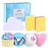 Facio Bombas de Baño, 7 Piezas Bombas de Baño Rainbow Set de Regalo Bath Ball Efervescentes Natural SPA para el Cuidado y Relajantes para Esposa y Novia