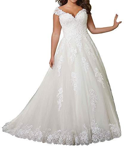 SongSurpriseMall Brautkleider Hochzeitskleider Damen Große Größen V-Ausschnitt Spitze Summer Brautkleid Ballkleid Weiß Maßanfertigung