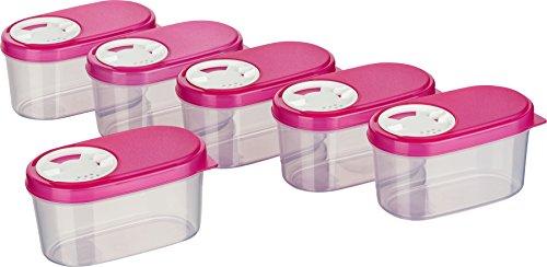 MiraHome Gewürzdosen Schüttdosen Streudosen Vorratsdosen 0,14l 6er Set pink Austrian Quality