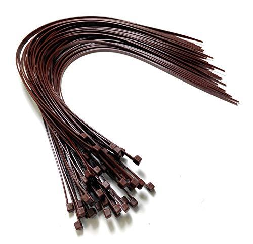 Nylon Kunststoff Kabelbinder lang und breit XL Größe Kabelbinder Schwarz und Weiss - Plastik, 4.8mm x 450mm, Braun