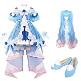 Hatsune Miku invierno traje de cosplay miku lolita traje de carnaval, Halloween animado femenina de alta calidad de la moda del traje del traje de la peluca zapatos M ropa de moda de la peluca WTZ012