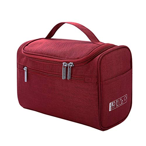 gxglhgsy Cosmetic bag Waterproof Men Hanging Makeup Bag Oxford Travel Organizer Cosmetic Bag For Women Necessaries Make Up Case (Color : Wine red)