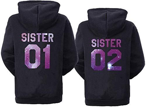 Best Friends Damen Hoodie Sister Pullover Für Zwei Mädchen Beste Freunde Kapuzenpullover (Sister 01, Sky Schwarz XS)