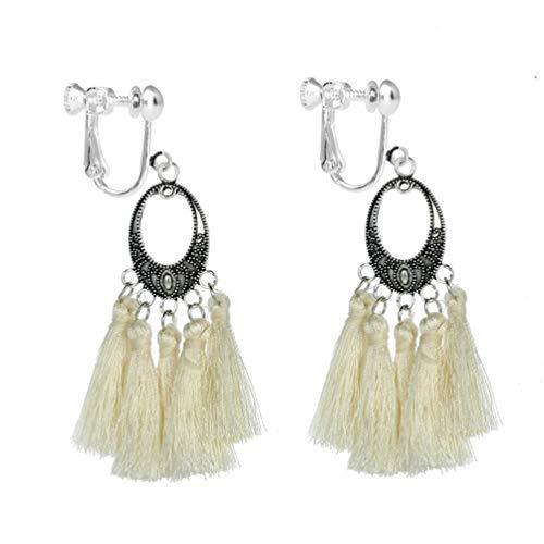 Bohemian Tassel Clip on Earring Long White Thread Fringe Cushion Pad Dangle Vintage Women Banquet Prom
