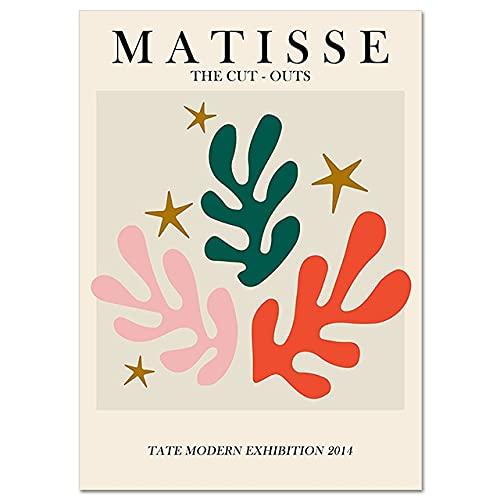 Carteles e impresiones de hojas de Coral con cara de línea Matisse Retro abstracto cuadro de pared sin marco pintura en lienzo A4 20x30cm