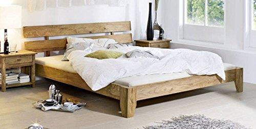 MASSIVMOEBEL24.DE Palisander Massivmöbel geölt Bett 200x200 Sheesham Holz massiv Massivholz braun Nature Brown #513