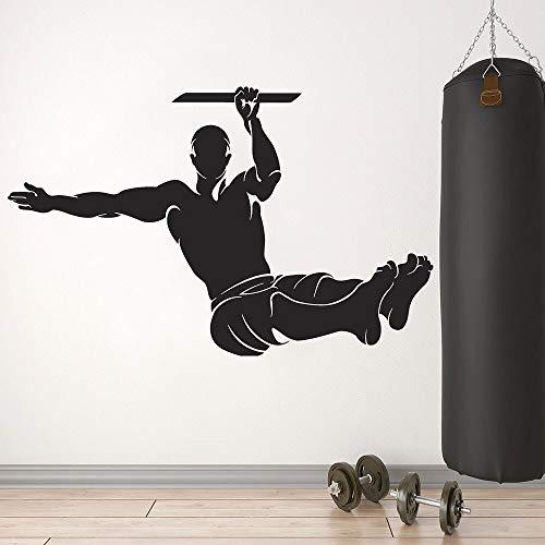 Calcomanía artística de gimnasia levantamiento de pesas ejercicio entrenamiento deporte vinilo pegatina de pared bderoom gimnasio sala de entrenamiento estadio decoración Interior Mural