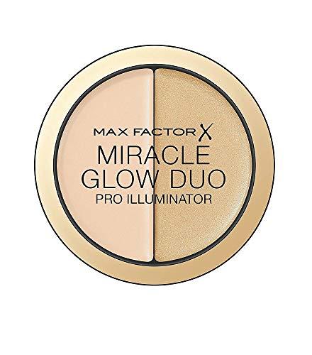 Max Factor Miracle Glow Duo Highlighter Light 10 – Highlighter Puder mit Gold Schimmer – Für den perfekten Teint – Farbe Gold und Rose – 1 x 8 g