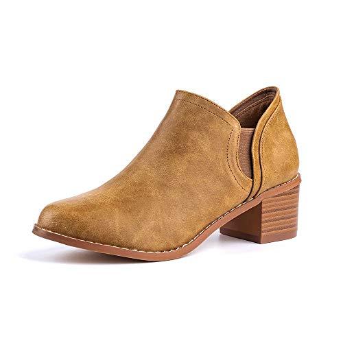 Botines Mujer Planos Otoño Botas Piel Tacón Anch 5cm Botin Medio Bloque Chelsea Ankle Boots Invierno Cuero Zapatos Fiesta Marron 39 EU