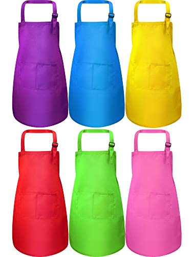 6 Pieces Kids Apron with Pocket Adjustable Children Chef Apron for Baking Painting Cooking (Color 1, Large)