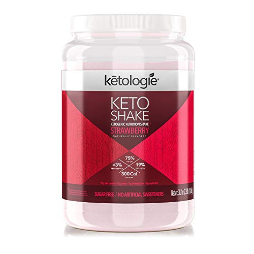 Ketologie Collagen Keto Shake (Strawberry) - with Coconut Oil, Grass Fed Hydrolyzed Collagen Peptides Type I & III, Low Carb High Fat, Lactose Free, Gluten Free, Soy Free, 2.38lbs
