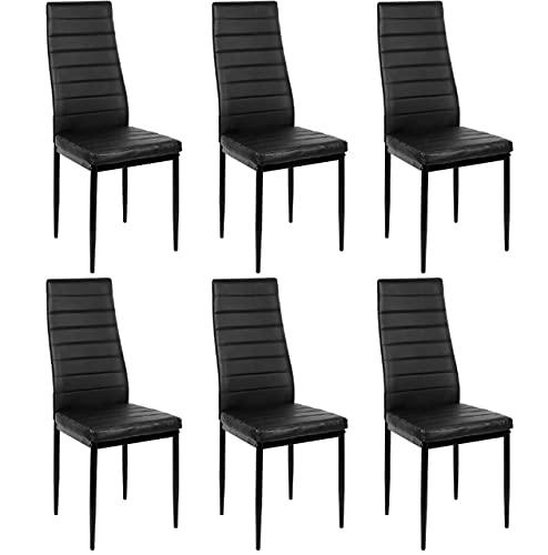 TANGIST Silla de Maquillaje 6 unids sillas Comedor Comedor casa Bar nórdico Estilo Moderno Horizontal línea Duradera salón sillón Sala de Estar HWC (Color : Black)