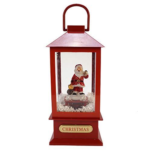 LED Schneelaterne Santa mit Musik LED Schneelaterne Santa Schneekugel Laterne Xmas Deko Schnee Batterie (Santa klein)
