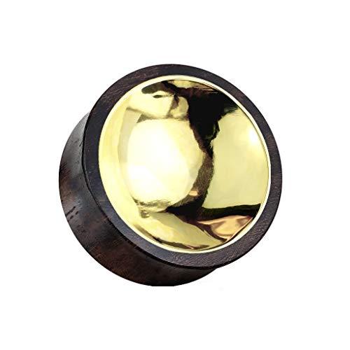 beyoutifulthings Ohr-Plug Sono Holz Gold Zentrum beidseitig Ohr-Piercing Ohr-Schmuck Tunnel Sattel-Verschluss 12mm