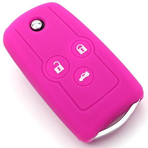 Finest-Folia Coque en silicone pour clé de voiture à 3 boutons rose fluorescent