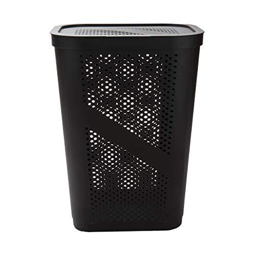 Mind Reader Perforated Plastic Laundry Basket 60 Liter/16 Gallon Lightweight Hamper Brown