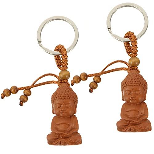 Veemoon 2 Pièces En Bois Bouddha Porte-Clés Chinois Feng Shui Porte-Clés Sculpté Bouddha Porte-Clés Bonne Chance Sac Pendentif Bénédiction Cadeau