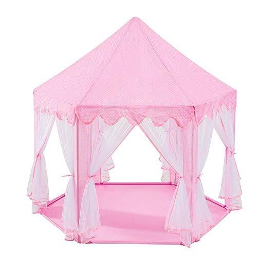 Fnho Tienda Tipi Interior y Exterior para niños,Castle Carpa Toy Play Tent Portable Plegable,Casa de Juegos Interior para niños, Carpa de Malla Hexagonal-Pink_1.4 x 1.2 x 1.35M