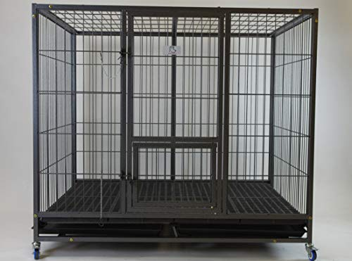 Homey Pet-49 Extra Large Heavy Duty Metal Dog Cage w/ Plastic Floor Grid, Casters, Pull Out Tray and Feeding Door: L 49' x W 37' x H44