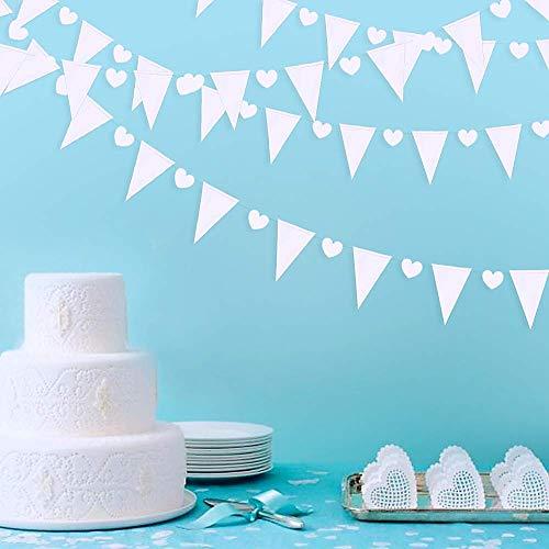 30 metros triángulo blanco corazón bandera banner papel nacarado tendedero guirnalda de estamina para boda, ducha, despedida de soltera, compromiso, aniversario, San Valentín decoración del partido