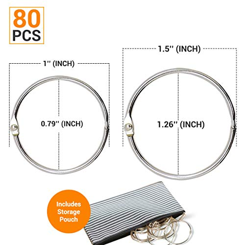 HomLujo Multipurpose Book Binder Rings,Metal Iron Nickel Plated Loose Leaf Rings. Two Sizes 1 and 1.5 inches Ring Size Books Ring, Binders Ring, Index Cards and Craft Rings.Storage Pouch Included