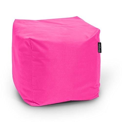 BuBiBag Sitzsack Würfel 45x45x45cm mit Füllung Cube Sitzwürfel Sitzkissen Bodenkissen Kissen Sessel BeanBag (pink)
