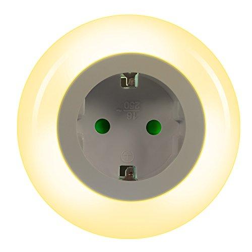 Emotionlite LED Steckdose Nachtlicht mit Dämmerungssensor Nachtlampe Kinder Schützen Steckdose Orientierungslicht Helligkeitssensor, Mehrfarbig (Grün, Blau, Warmweiß)